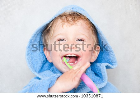 little baby boy with tooth brush