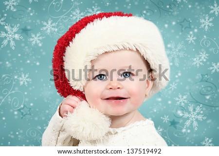 Little baby girl with gifts and Christmas balls - Christmas photos