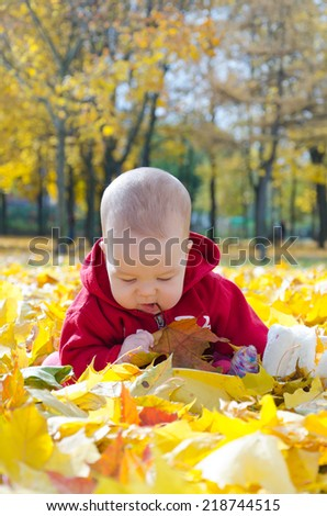 Little baby in yellow autumn leaves