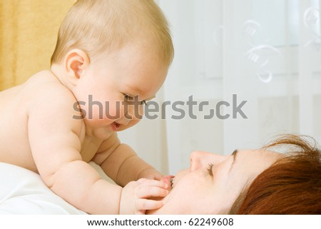 Little baby with mom