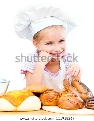 Little baker on a white background