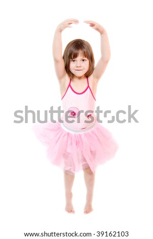 b064615e2b3c little ballerina wearing tutu isolated on white