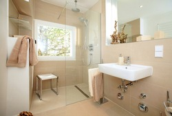 Little bathroom after renovation for seniors or handicaped persons