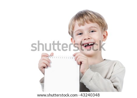 little beautiful boy holding paper notebook - isolated over white
