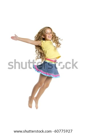 little beautiful girl jumping white studio background