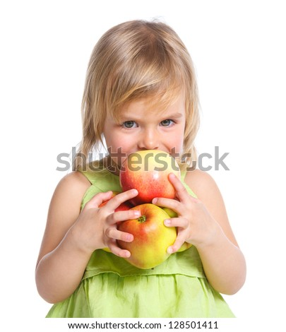 Little beauty girl holding big apples. Isolated white background