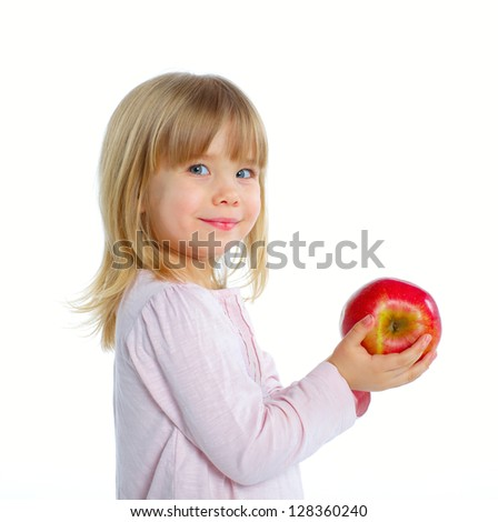 Little beauty girl holding big red apple. Isolated white background