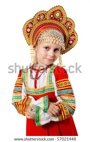 little beauty.girl in Russian national dress on a white background