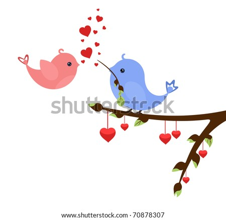 Little birds in love with hearts on early spring twig. Valentine's idea for Your design