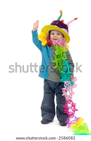 little blond boy dressed up for his birthday party