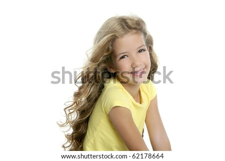 little blond girl smiling portrait yellow t-shirt isolated on white background
