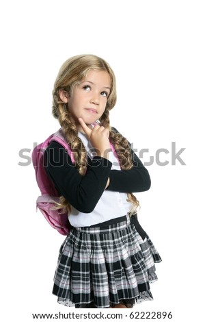 little blond school girl with backpack bag portrait isolated on white background