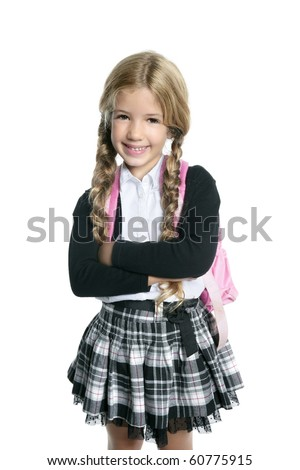 little blond student school girl  with bag