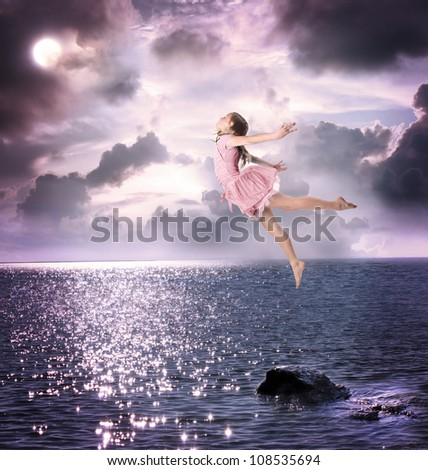 Little Blonde Girl Flying Into the Night Sky