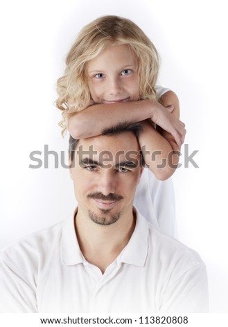 Little blonde girl with her father together. Smiling, happy family portrait.