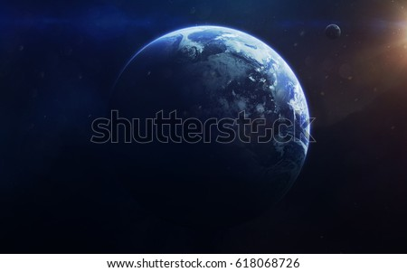 Little blue planet Earth in deep space. Elements of this image furnished by NASA #618068726