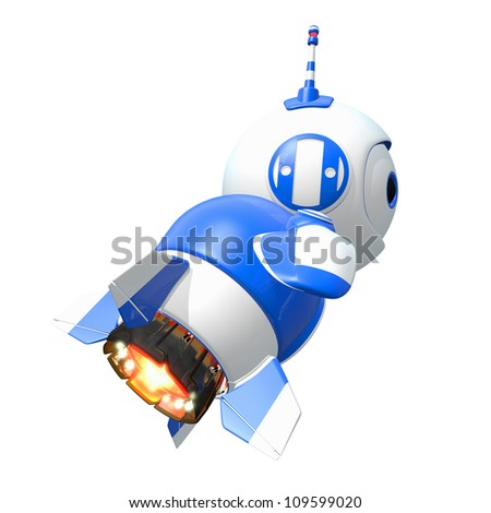 Little blue rocket bot blasting off toward new discoveries.