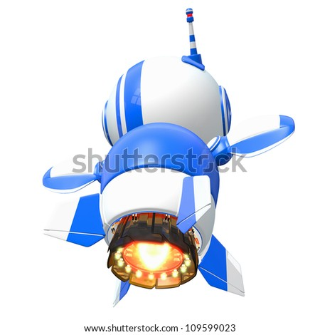 Little blue rocket robot flying away at the speed of imagination.
