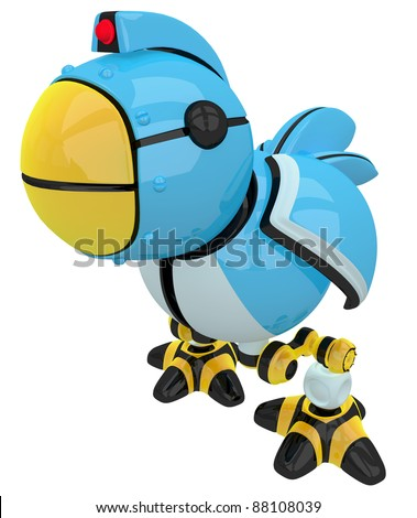 Little blue social networking and networking bird, robot character.
