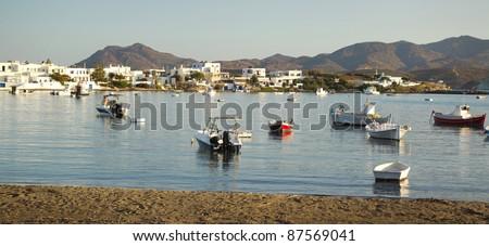 LIttle boats on water at Milos island, Greece