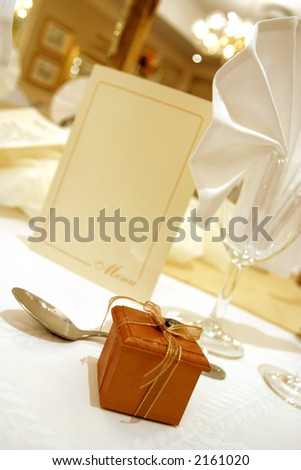 Little boxed gift on a wedding table
