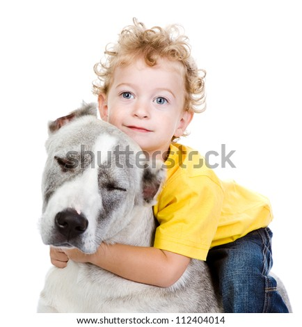 little boy and a big dog. isolated on white background - stock photo
