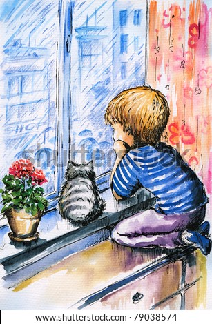 Little boy and cat watching the city through the window  in rainy day.Picture i have created with watercolors.