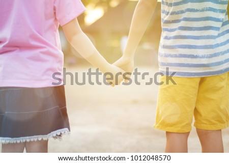 Free Photos Little Boy And Girl Holding Hands At Sunset Avopixcom