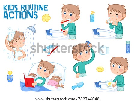 Little boy and his daily routines - white background - set of 6 illustrations