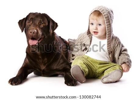 little boy and labrador , Best friends