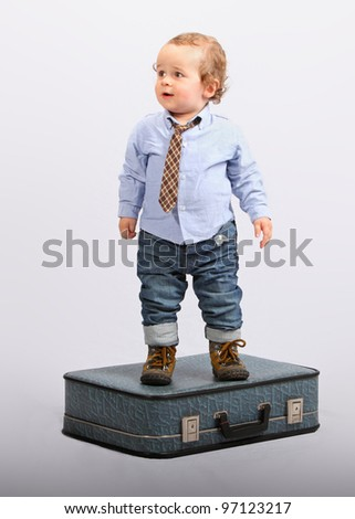 Little boy as boss manager - businessman