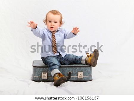 Little boy as traveler