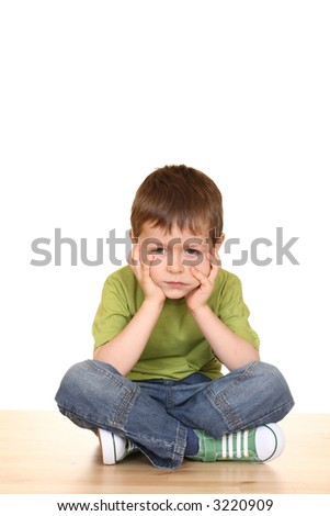 little boy big problem - five years old boy isolated on white - stock photo