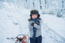 little boy boy holding himself with hands because he is cold in the winter Forest looking upset and holding the Sledge, dressed in the old hat  and and grey sweater and mittens, the background snowy