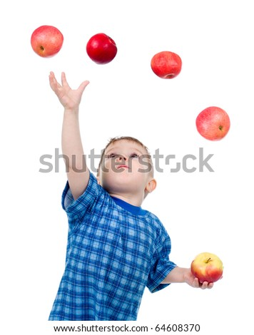 Little boy  caughts flying apple  .isolated on white background