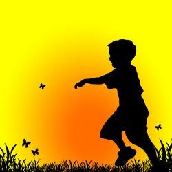 Little boy chasing butterflies