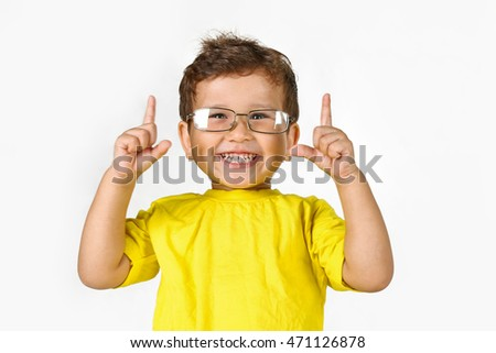 Little boy child on white background