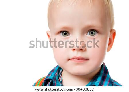 little boy close up on white background