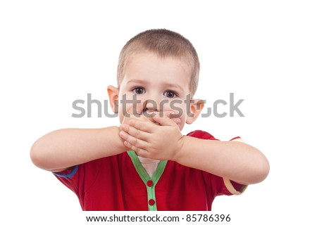 Little boy covering her mouth with her hand