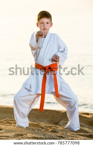 Little boy doing karate poses at  sunset sea shore