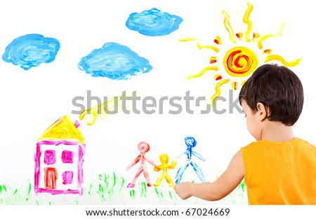 little boy draws fingers on a paper his family - stock photo