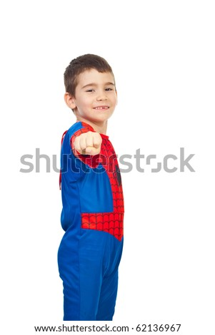 Little boy dressed in spider costume showing fist hand and smiling isolated on white background - stock photo