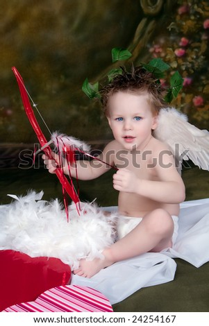 Little Boy Dressed up as Cupid