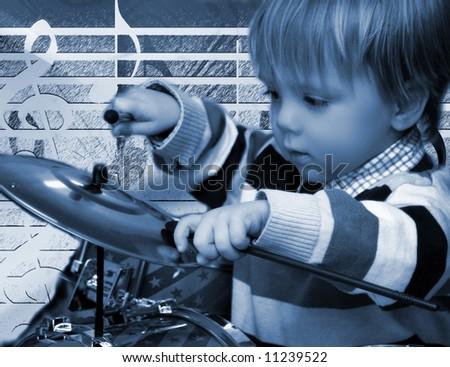 Little Boy Drumming, , Blue-duo-toned