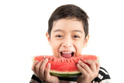 Little boy eating watermelon on white background