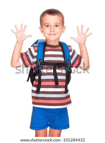Little boy elementary student with backpack and sandwich box shows ten fingers isolated on white