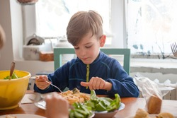 Little boy Enjoying his Lunch