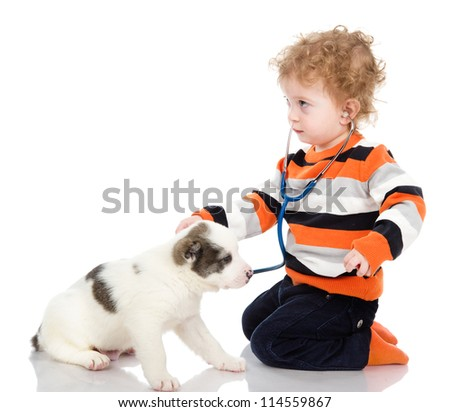 little boy examining puppy dog.  isolated on white background
