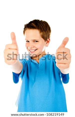 little boy giving a thumbs up