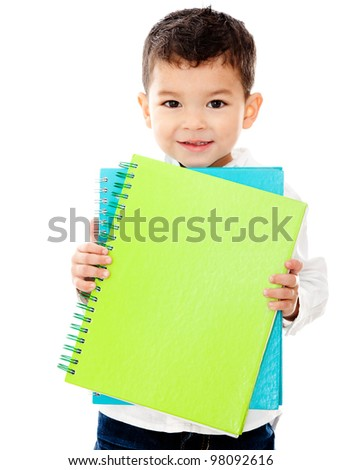Little boy going to school holding notebooks - isolated over a white background